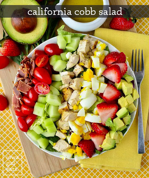 california cobb salad with a fork