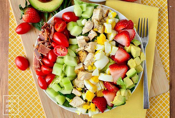 california cobb salad on a plate