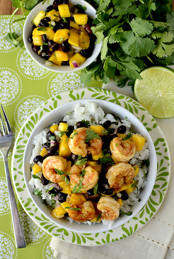 Chili-Lime Shrimp Bowls with Black Bean-Mango Salsa | iowagirleats.com