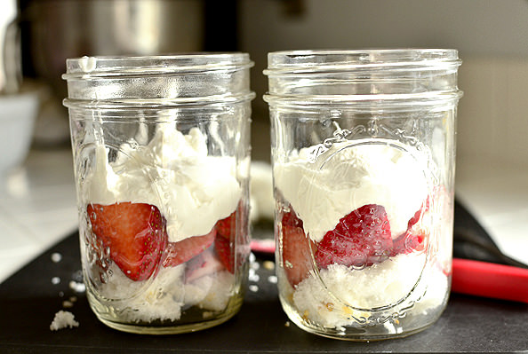 Strawberry Angel Food Cake Jars | iowagirleats.com