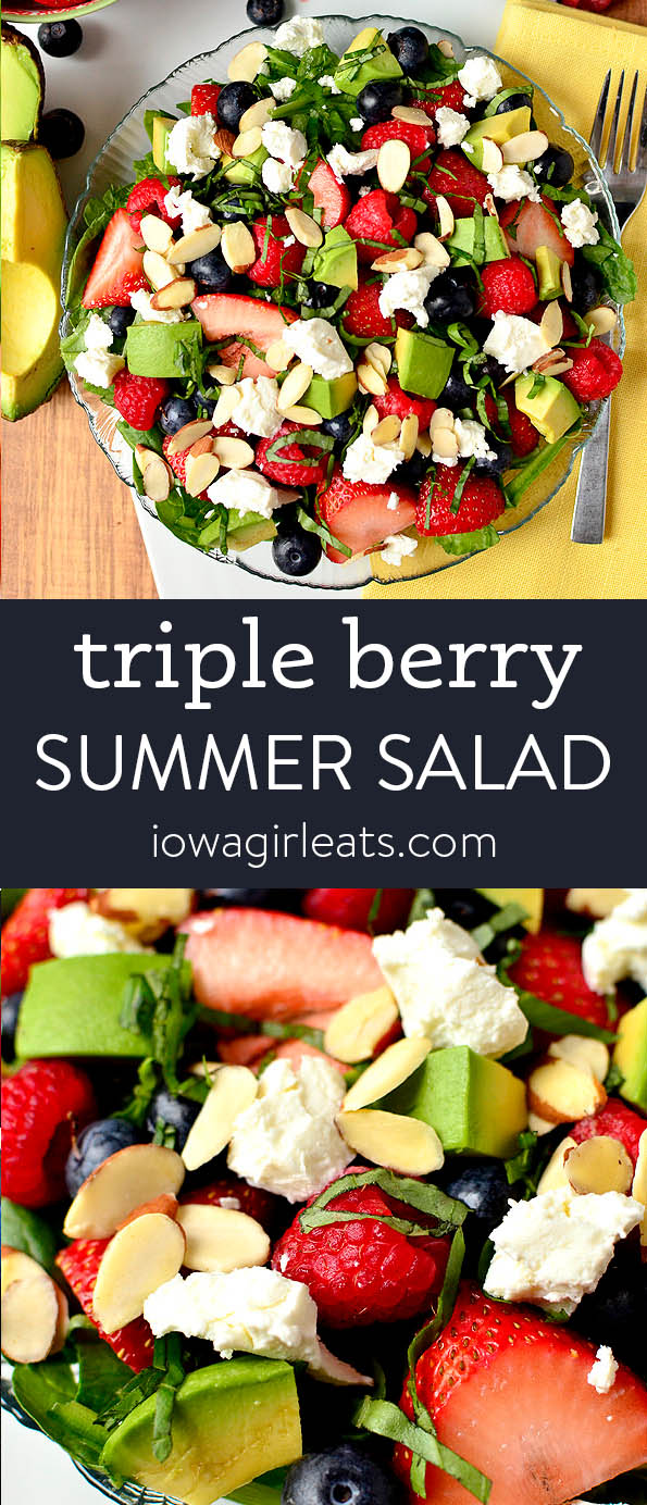 Photo collage of triple berry summer salad