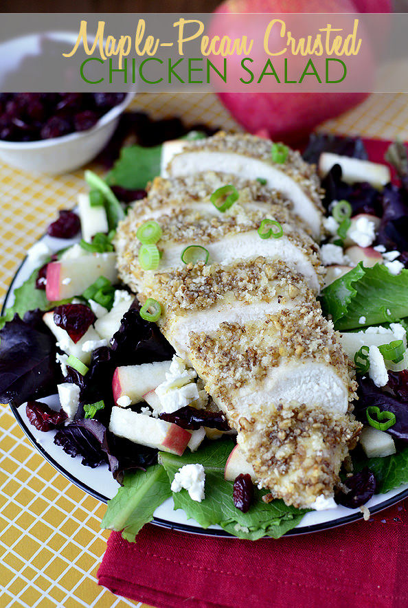Maple Pecan Crusted Chicken Salad | iowagirleats.com