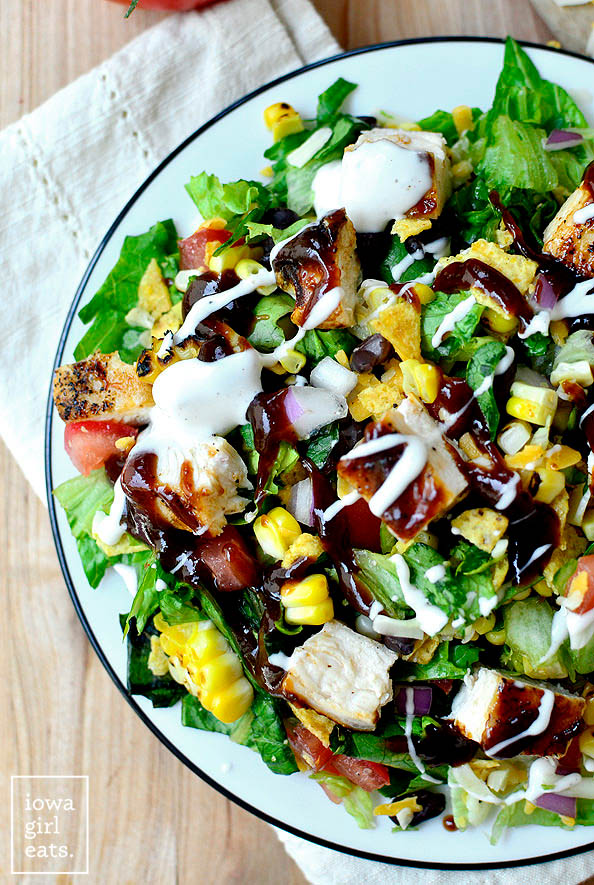 overhead photo of bbq chicken chopped salad