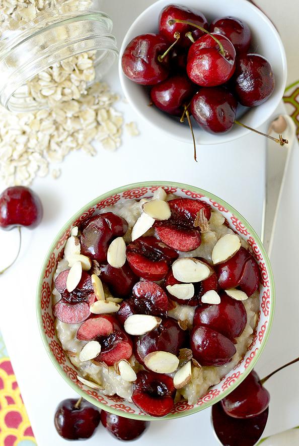 Cherry-Almond Cookie Dough Oatmeal   iowagirleats.com