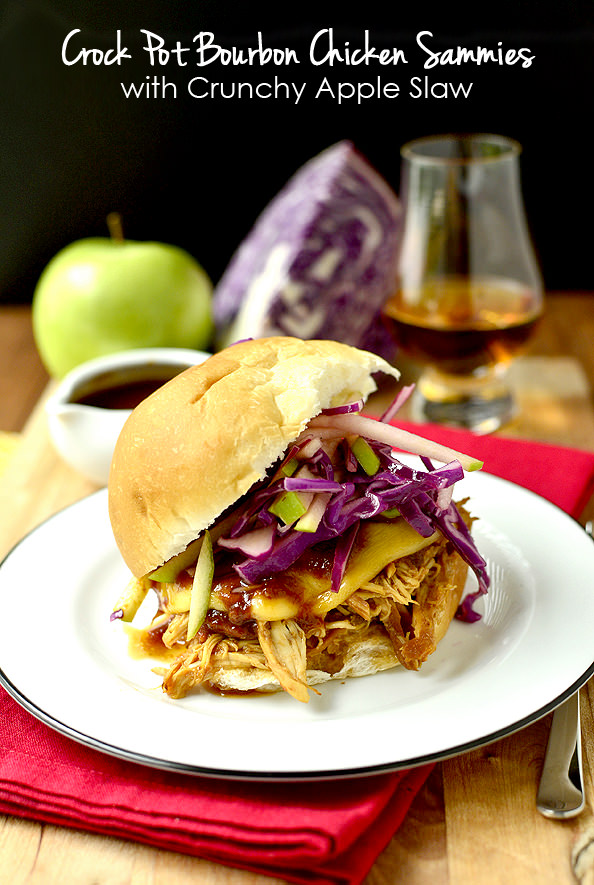 Crock Pot Bourbon Chicken Sammies with Crunchy Apple Slaw   iowagirleats.com