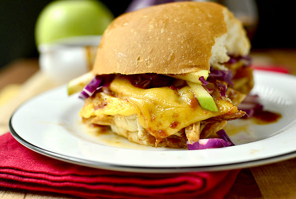Crock Pot Bourbon Chicken Sammies with Crunchy Apple Slaw | iowagirleats.com