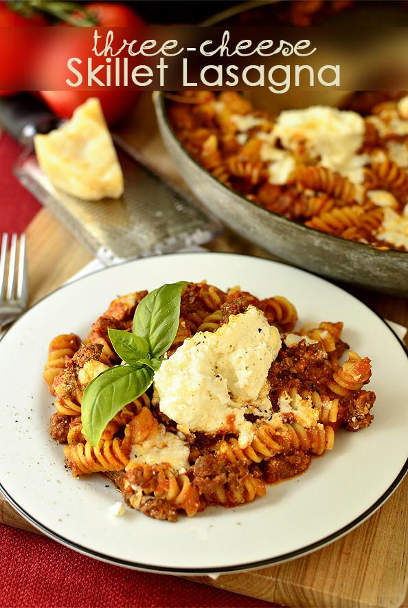 Three Cheese Skillet Lasagna