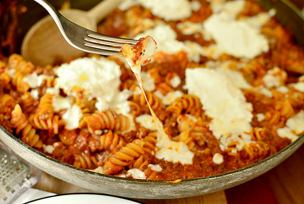 photo of forkful of cheese lasagna