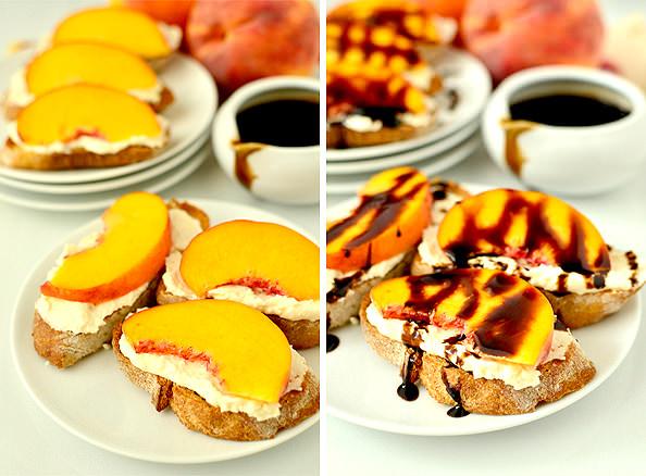 Fresh Peach Crostini with Whipped Honey Feta and Balsamic Drizzle | iowagirleats.com