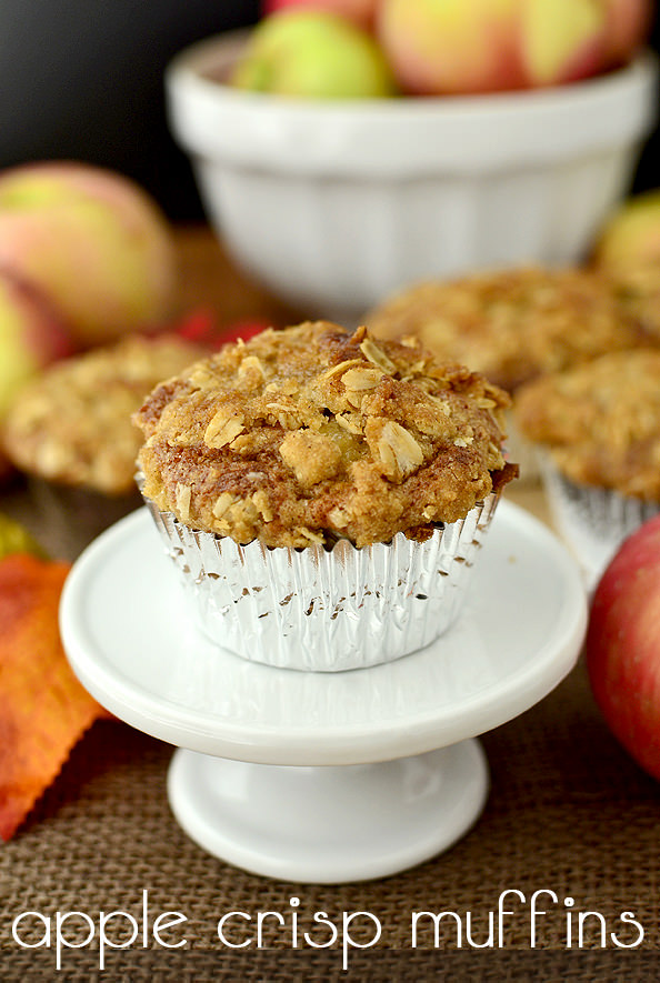 Apple Crisp Muffins are sweet, apple-studded muffins topped with an irresistible crumb topping. They're the perfect fall treat! | iowagirleats.com