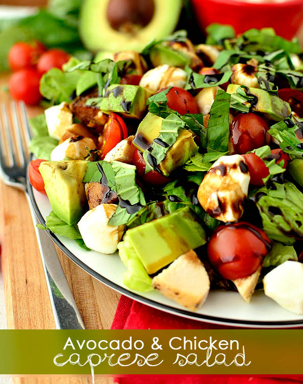 avocado and chicken caprese salad on a plate