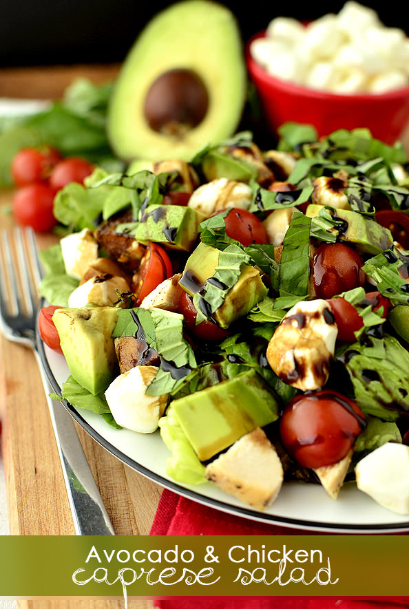 Avocado and Chicken Caprese Salad | iowagirleats.com