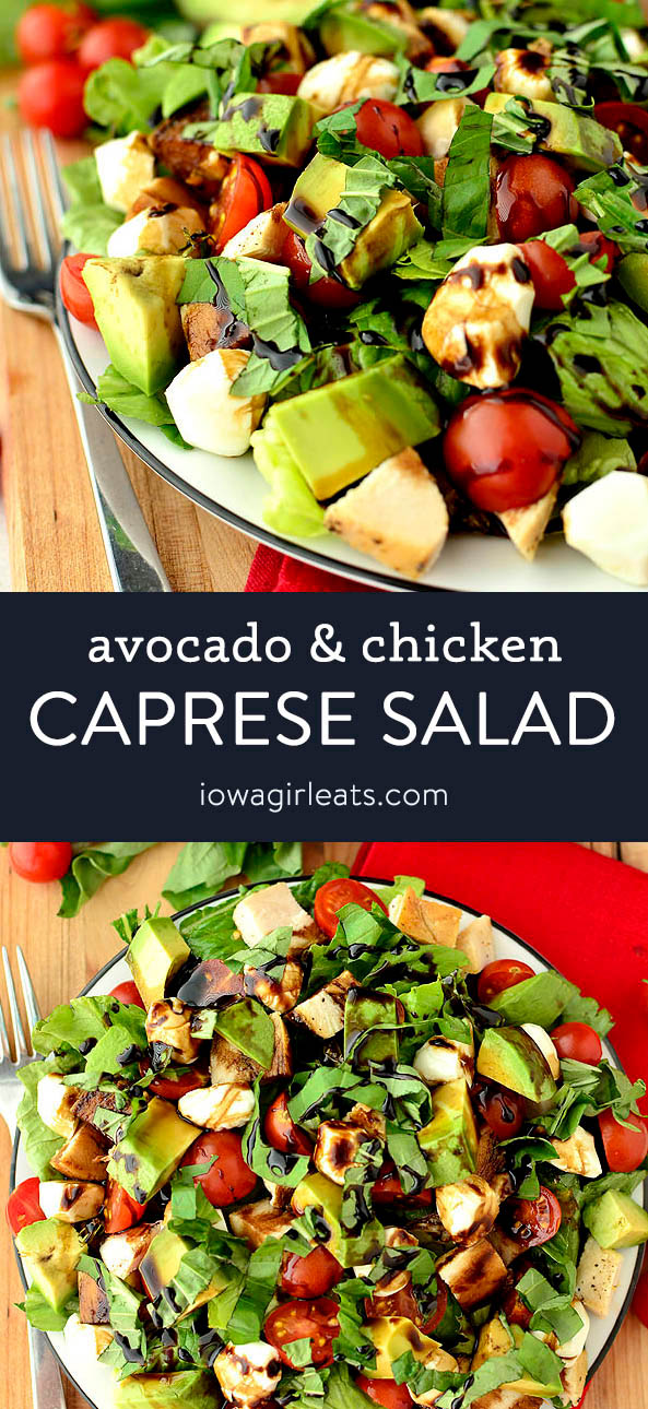 photo collage of avocado and chicken caprese salad