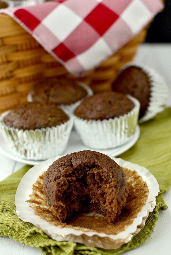 Healthier Double Chocolate Zucchini Muffins | iowagirleats.com