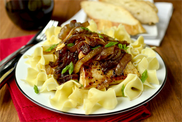Honey and Balsamic-Onions Chicken Skillet   iowagirleats.com
