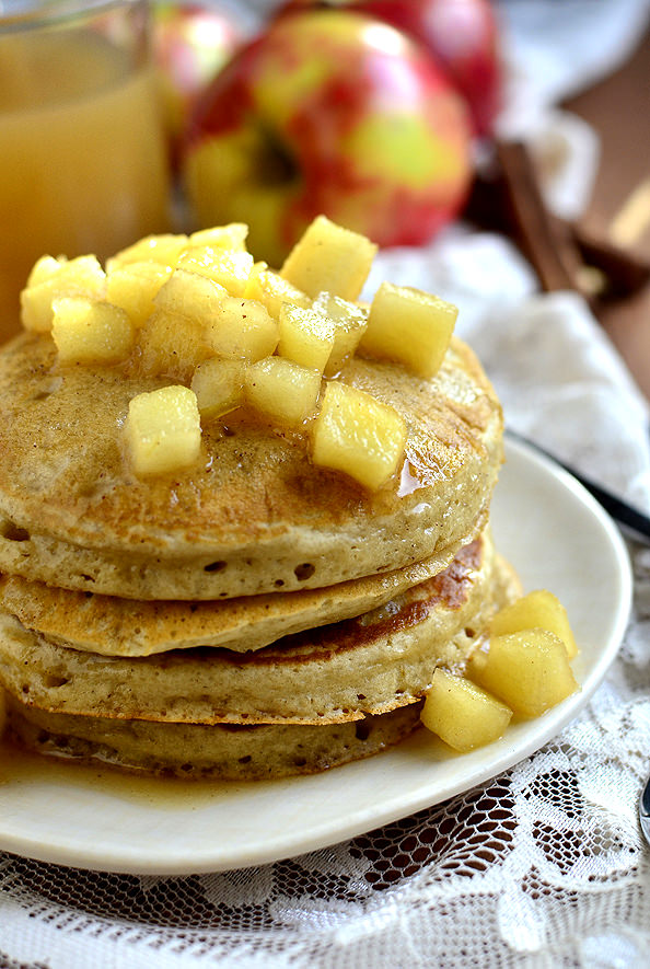 Apple Cider Pancakes with Maple Cider Syrup   iowagirleats.com