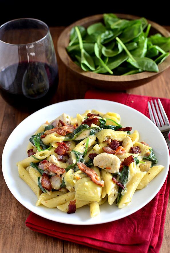 Chicken, Bacon, and Artichoke Pasta   iowagirleats.com