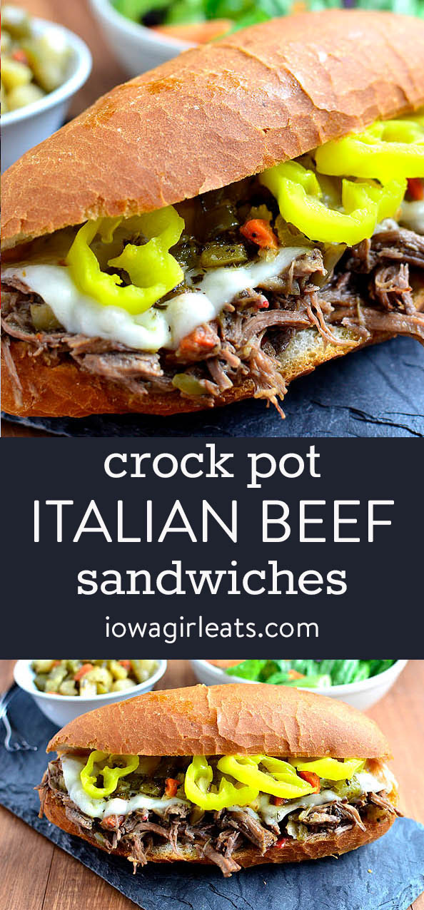 photo collage of italian beef sandwiches