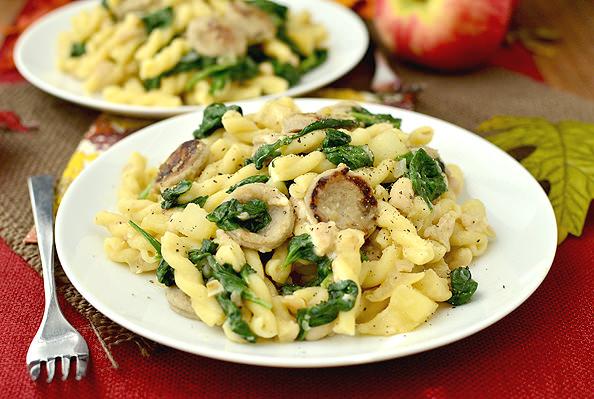 Sweet Apple Chicken Sausage Pasta   iowagirleats.com