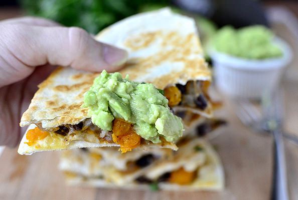 Black Bean & Butternut Squash Quesadillas with Lazy Girls Guacamole | iowagirleats.com