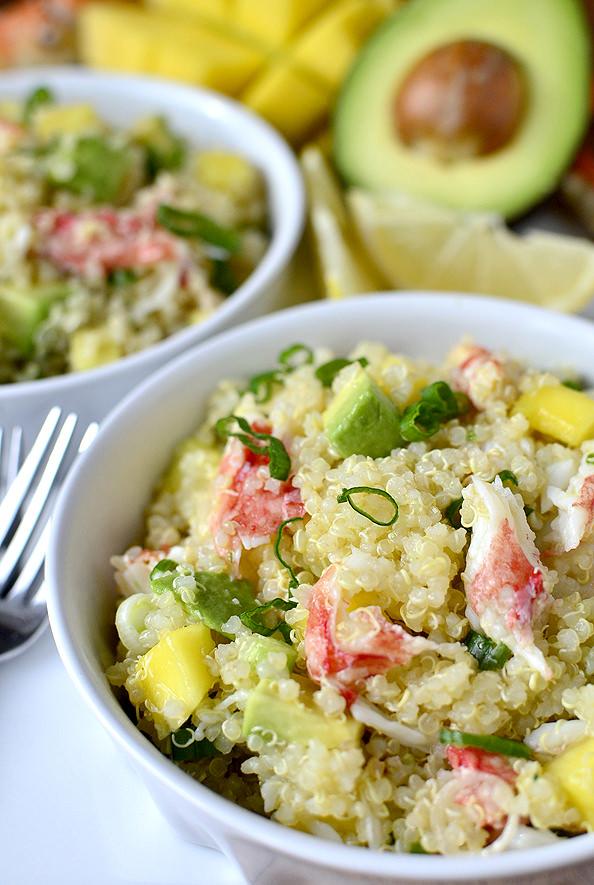 California Crab and Quinoa Salad #appetizer #salad #alaskakingcrab   iowagirleats.com
