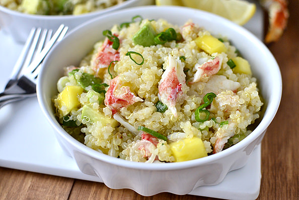 California Crab and Quinoa Salad #appetizer #salad #alaskakingcrab | iowagirleats.com