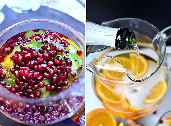 Champagne Sangria Punch. #wine #sangria #cocktail #holidays #girlsnight #champagne | Iowagirleats.com