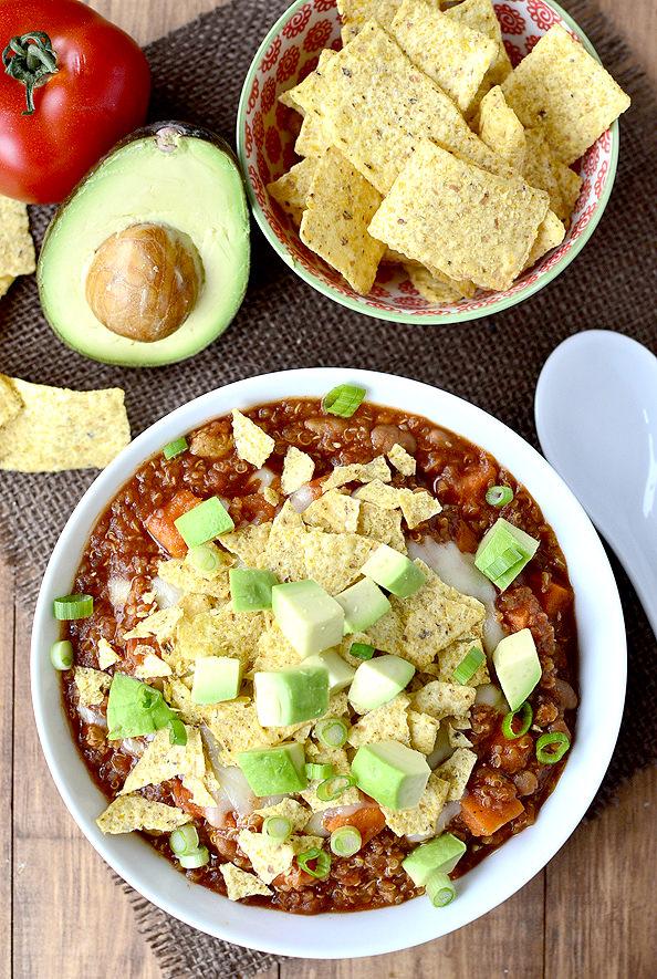 Crock Pot Sweet Potato and Quinoa Turkey Chili #recipe #dinner #chili #slowcooker #crockpot @IowaGirlEats | iowagirleats.com