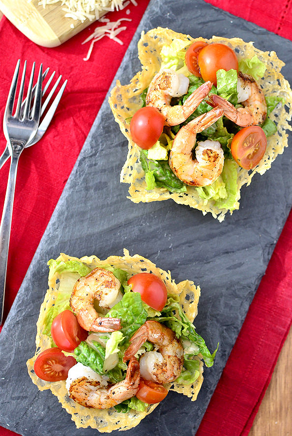 Shrimp Caesar Salad in Crispy Parmesan Cups @IowaGirlEats | iowagirleats.com