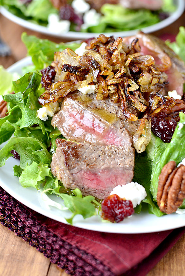 Strip-Steak-Salad-with-Crispy-Shallots-Dried-Cherries-Candied-Pecans-and-Goat-Cheese-iowagirleats.com