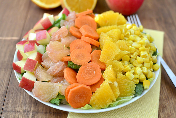 Sunshine Chopped Salad with Orange Ginger Vinaigrette #salad #healthy @IowaGirlEats | iowagirleats.com