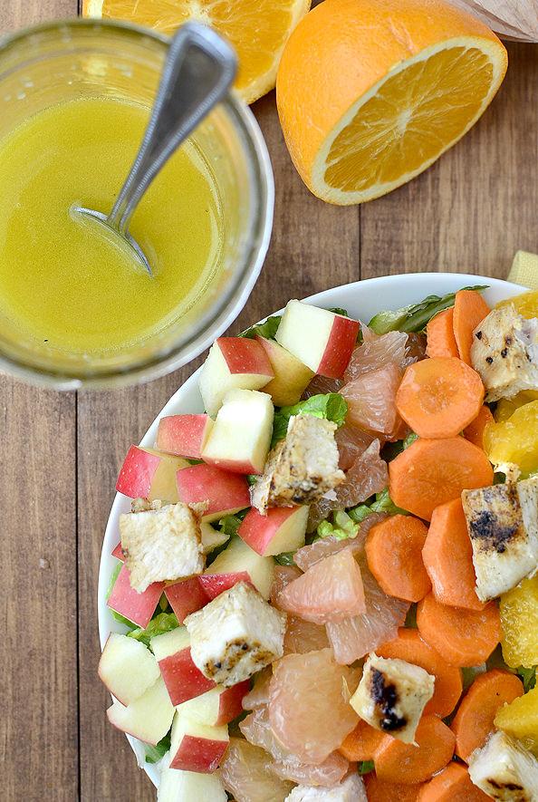 Sunshine Chopped Salad with Orange Ginger Vinaigrette #salad #healthy @IowaGirlEats   iowagirleats.com