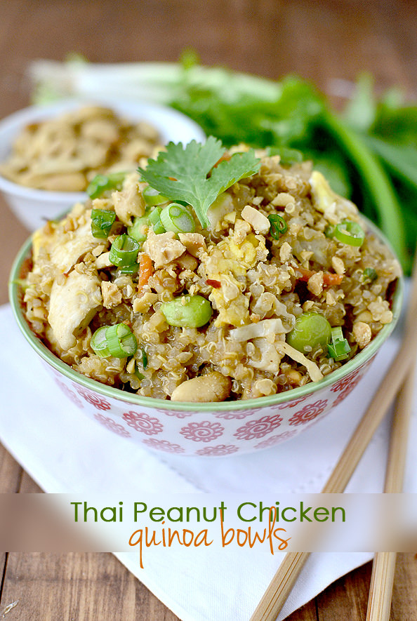 Thai Peanut Chicken Quinoa Bowls #quinoa #dinner #Thai #recipe @IowaGirlEats | iowagirleats.com
