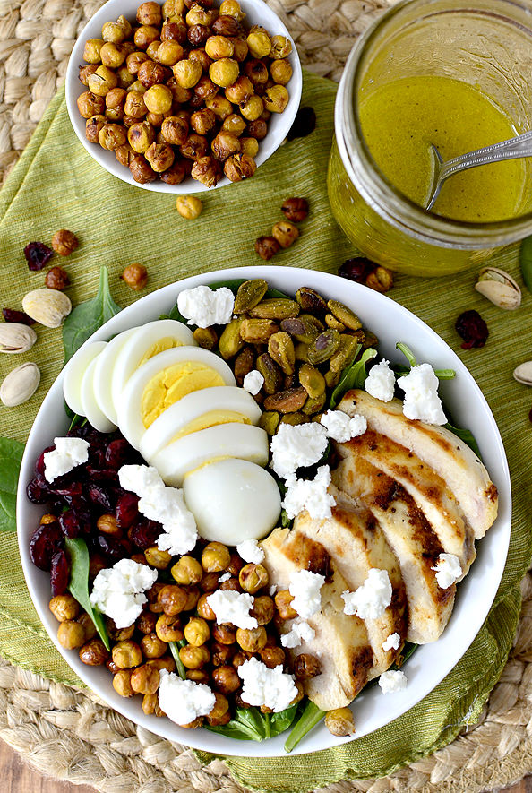 Chicken Power Bowls with Crispy Baked Garbanzo Beans | iowagirleats.com
