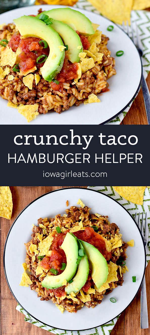 photo collage of crunchy taco hamburger helper