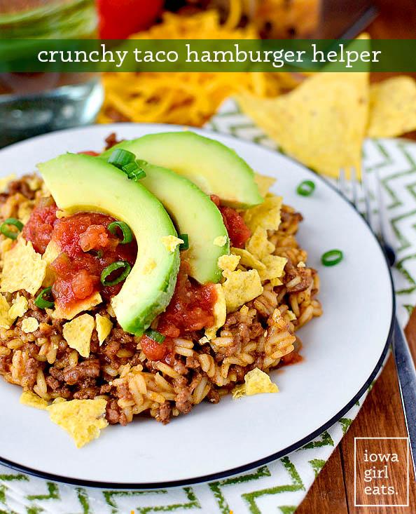 crunchy taco hamburger helper on a plate