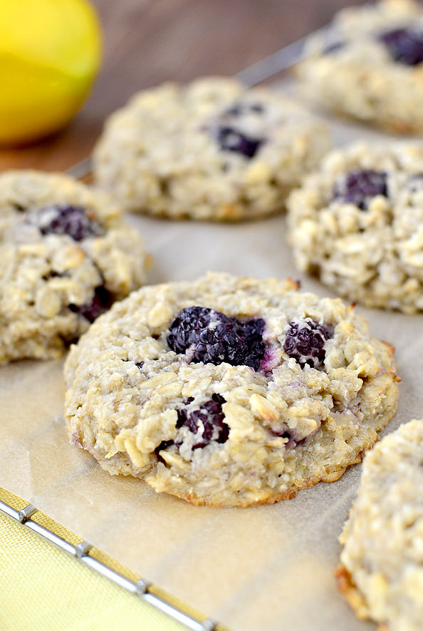 Lemon Blackberry Breakfast Cookies are dairy, egg, and gluten free!   iowagirleats.com
