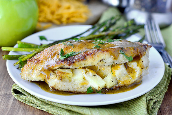 Apple Cheddar Stuffed Chicken with Apple Dijon Pan Sauce | iowagirleats.com