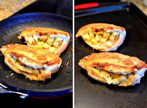 Apple Cheddar Stuffed Chicken with Apple Dijon Pan Sauce   iowagirleats.com