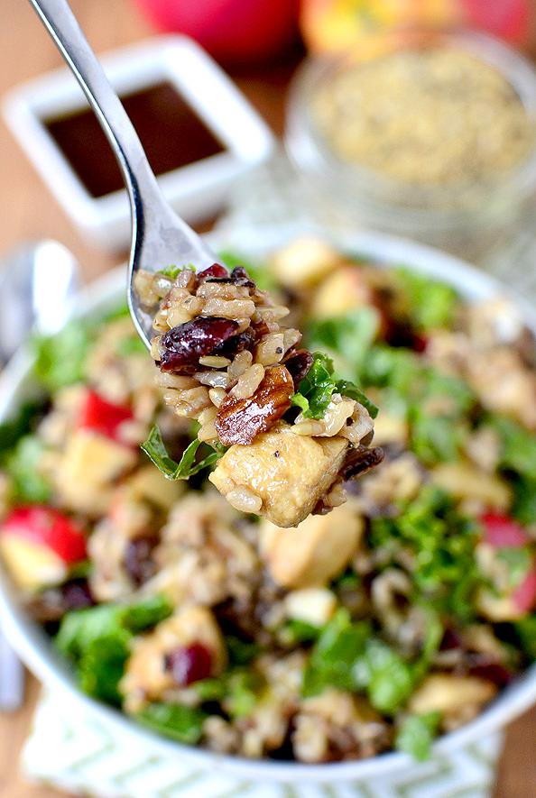 Kale and Wild Rice Bowls with Honey-Balsamic Vinaigrette | iowagirleats.com