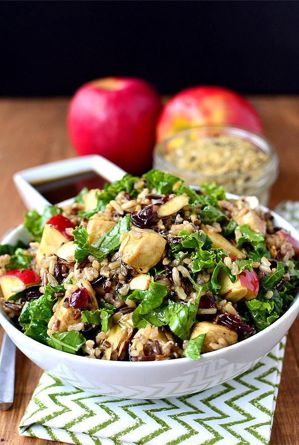 Kale and Wild Rice Bowls with Honey-Balsamic Vinaigrette | iowagirleats.com