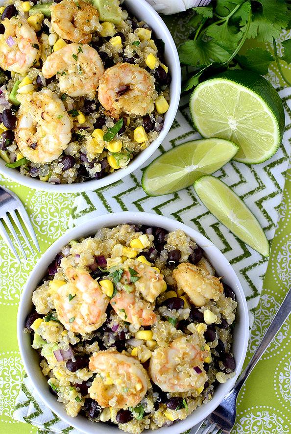 Tequila Lime Shrimp and Quinoa Salad | iowagirleats.com