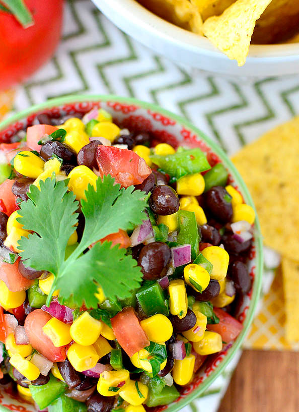 Overhead photo of bowl of black bean dip
