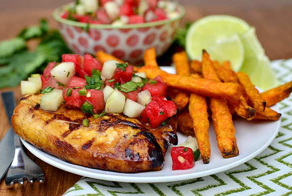 Marinated Grilled Chicken with Cucumber-Watermelon Salsa | iowagirleats.com