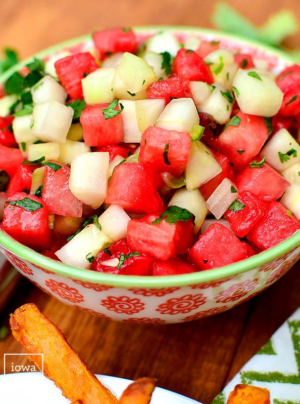 fresh cucumber watermelon salsa in a bowl
