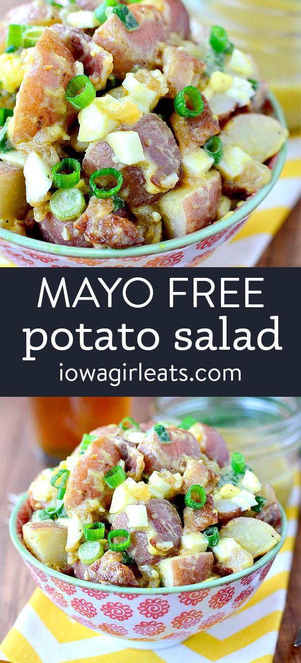 Photo collage of mayo free potato salad