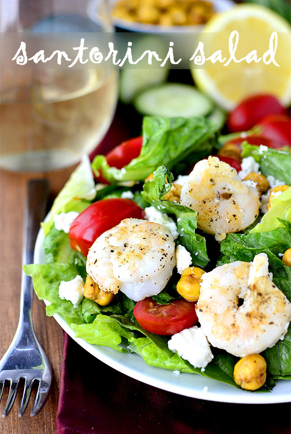 Santorini Salad with Cucumber Basil Yogurt Dressing | iowagirleats.com