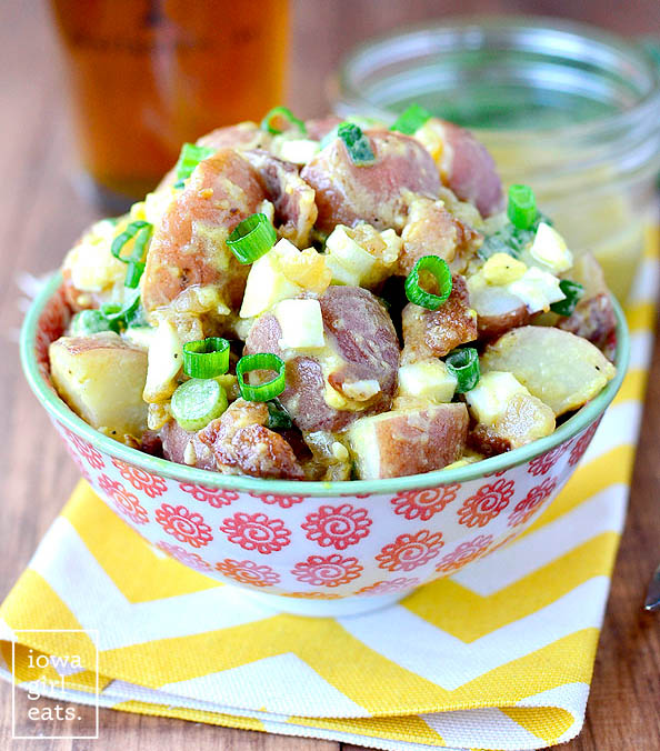 red skinned potato salad in a serving bowl