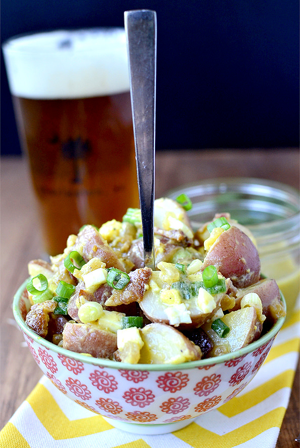 Ultimate Red Skinned Potato Salad - Mayo Free! | iowagirleats.com