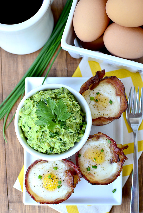 Egg and Bacon Cups with Guac-Kale-Mole   iowagirleats.com